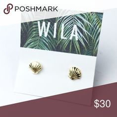 Sale! Sea shell clam earrings 16K gold! Just in! small 16k gold seashell earrings. Perfect for summer! Check out or other NWT retail items Wila Jewelry Earrings
