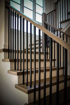 Building a Modern Railing in 2016 - Southern Staircase Wood Railings For Stairs, Interior Stair Railing, Modern Stair Railing, Stair Railing Design, Modern Stairs, Stairs Balusters, Stair Banister, Bannister, Staircase Remodel