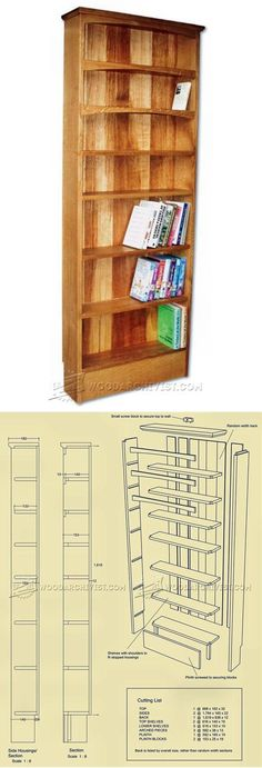Narrow Book Shelves Plans - Furniture Plans and Projects | WoodArchivist.com Woodworking Techniques, Woodworking Wood, Woodworking Projects Plans, Furniture Plans, Furniture Making, Wood Furniture, Bookshelf Plans, Small Wood Projects, Wood Plans