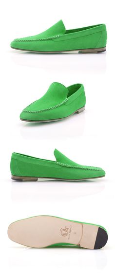 The Porto Cervo is a stylish and colorful Venetian loafer designed to accompany you in your summer getaways. Made of calf buckskin, the Porto Cervo is an extremely comfortable moccasin that you can perfectly wear sockless. Venetian, Moccasins, Calves, Loafers, Colorful, Luxury, Stylish, Green, Summer