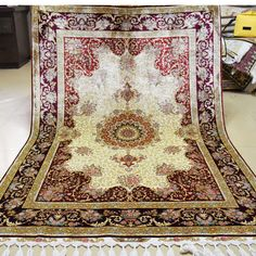 >> Click to Buy << Mingxin Carpet 4x6ft Beige And Red Flower Hand Woven 100% Silk Carpet Handmade Carpets And Rugs Persian Art Silk Rug Floor Mat #Affiliate