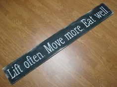 Custom distressed hand painted wooden wall sign plaque perfect gift exercise health gym rat weigh lifter athlete on Etsy, $40.00