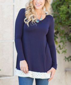 Navy Blue & White Crochet-Hem Tunic #zulily #zulilyfinds
