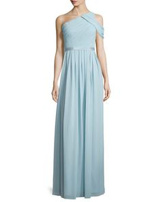 a824d1834d56 Chloe One-Shoulder Chiffon Gown by Donna Morgan at Neiman Marcus. One  Shoulder