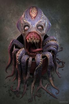 I think it's probably a zombie octopus. Arte Horror, Horror Art, 3d Fantasy, Dark Fantasy, Creature Feature, Creature Design, Kraken, Creepy Art, Scary