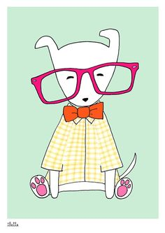 Geek Boy print of dog with glasses - Ilette