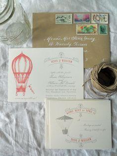 Vintage Hot Air Balloon Invitation Suite - Letterpress or Digital Printing. $10.00, via Etsy.