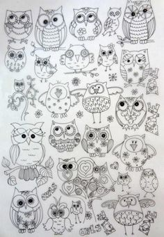 Owl stencils and templates. There are lots of other owl designs on this page (although it is in Russian): Talk to LiveInternet - Russian Service Online Diaries Colouring Pages, Adult Coloring Pages, Coloring Books, Owl Patterns, Embroidery Patterns, Owl Crafts, Owl Art, Doodle Art, Owl Doodle