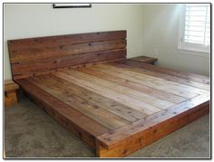 DIY platform beds - DIY bed made from reused wood - just do it yourself bed projects . - The Best Latex Mattresses - DIY platform beds – DIY bed made from reused wood – just make it yourself bed projects … – - King Platform Bed Frame, King Size Bed Frame, Wood Platform Bed, Diy King Bed Frame, Wooden Bed Frame Diy, Wood Bed Frames, Cheap Platform Beds, Diy Queen Bed Frame, Diy Platform Bed Plans