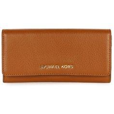 Michael Kors Women's Bedford Signature Logo Tan Leather Purse ($205) via Polyvore