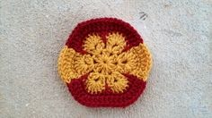 Crochet hexagon inspired by the flag of Spain for a crochet soccer ball, crochetbug, 2014 world cup, crochet toy
