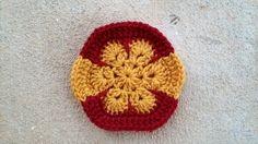 Crochet hexagon inspired by the flag of Spain for a crochet soccer ball, crochetbug, 2014 world cup, crochet toy
