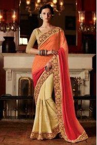 Georgette and Velvet Designer Saree In Cream and Orange Colour