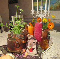 Motoristin Mutsi at home and garden: Center piece for autumnal equinox