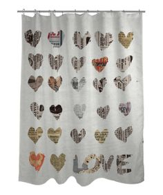 Love Shower Curtain Drapes Curtains Elegant Newspaper Collage Home