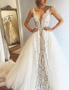 Glamorous Deep V-Neck Sleeveless Court Train Wedding Dress with Lace