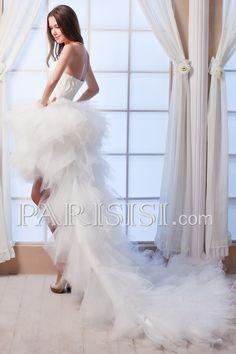 vestidos de novia Tul Asimétrico Sin Mangas Pluma Cascade Elegante Moderno Glamouroso Corazón Corte A