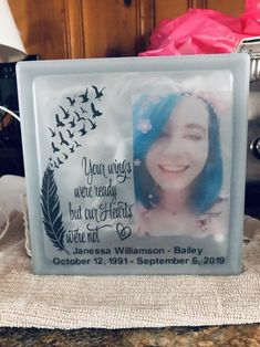 Glass Block Crafts, Glass Craft, Customized Gifts, Personalized Gifts, Lighted Glass Blocks, Aunt Gifts, Sympathy Gifts, Religious Gifts, Friendship Gifts