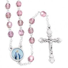 Save 10% on Purple Aurora Crystal Beads Rosary with Our Lady of Grace center and Silver finish Oxidized Crucifix. Made in Italy!