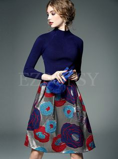 Shop for high quality Knit Patch Print A-Line Dress online at cheap prices and discover fashion at Ezpopsy.com