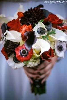 anemones, roses, calla lilies, peonies bouquet. red black and white.