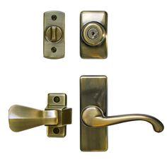 Deluxe Storm And Screen Door Lever Handle And Keyed Deadlock In Antique  Brass