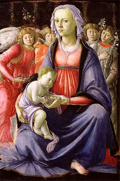 SANDRO BOTTICELLI (1445 - 1510): Madonna and Child Surrounded by Five Angels.