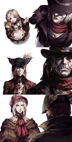Игры,Игровой арт,game art,BloodBorne,Hunter (Bloodborne),Lady Maria,Gehrman the First Hunter,Plain Doll,Кукла
