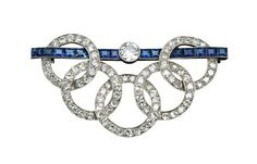 Art Deco Diamond and Sapphire Brooch, Jewellery