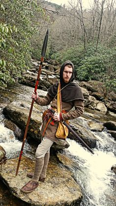 River crossing. Viking-Age Central Germany ; Fall, 880AD. Medieval Life, Medieval Fantasy, Viking Reenactment, Viking Men, Early Middle Ages, Longbow, Arm Armor, Face Characters, Medieval Clothing