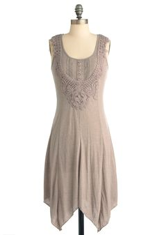 Mid-Morning Mist Dress in Oatmeal - Long, Casual, Boho, Tan, Solid, Crochet, Sheath / Shift, Sleeveless, Buttons, Handkerchief