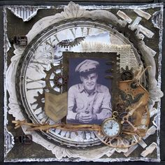 Grandpa, WWII...heritage military layout using the Timepiece Collection from Bo Bunny.