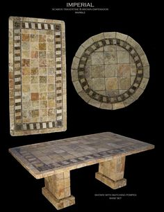 Arts And Crafts Pottery Mosaic Tile Table, Marble Mosaic, Mosaic Art, Imperial Tile, Stone Table Top, Mosaic Crafts, Stone Crafts, Floor Patterns, Unique Furniture