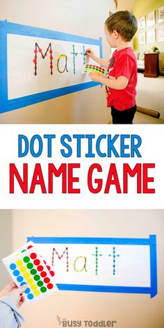 Name Game Dot Sticker Activity - quick and easy toddler activity; rainy day activity by Busy Toddler indoor activities Name Game Dot Sticker Activity - Busy Toddler Rainy Day Activities For Kids, Indoor Activities For Toddlers, Preschool Learning Activities, Infant Activities, Fun Activities, Kids Learning, Name Games For Kids, Recycling Activities For Kids, Ideas
