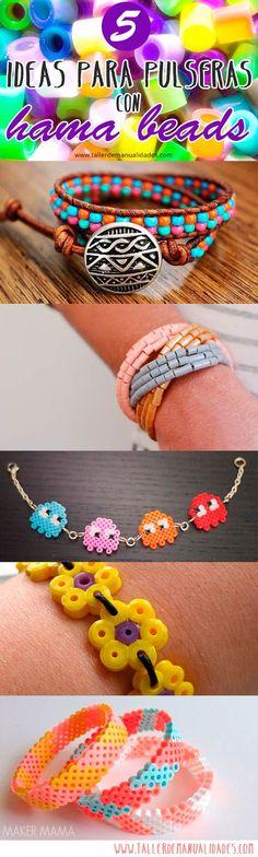 5 ideas de pulseras con #perler beads  #hamabeads #hama #bracelets #pulseras