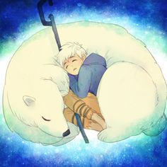Share My Warmth With You by Breetroad.deviantart.com - RotG Jack Frost and polar bear snuggles.