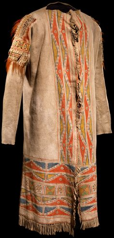 Cree misko takiy (hide coat)  ca. 1780–1820  Alberta, Canada  Moose hide, paint, porcupine quill, hair  125 x 160 cm