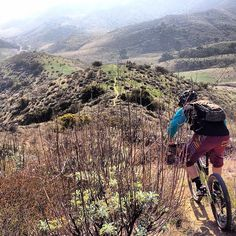 @the4color dropping in on some hidden singletrack off of Black Star Canyon road. Mountain biking.