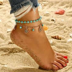 Brishow Bohemian Silver Layered Flower Anklet Beaded Ball Foot Chain with Heart Pendant for Women and Girls