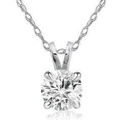 0.50Ct Round Natural Diamond 14K White Gold 1/2ct Solitaire Pendant Necklace