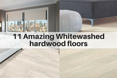 Whitewashed hardwood flooring for modern, farmhouse and shabby chic decor. They've made a huge comeback. The cool thing about the newer white woods is that they have a whole new look vs what was popular 25 years ago. They have more texture and dimension, as well as wider planks, for a stylish, spacious and airy look.