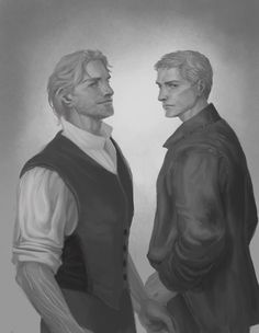 Kelsier and Marsh Before stuff went south even more in their lives.  Keep reading for artist's rant  [[MORE]]I tried. I'm not sure I got them exactly the way I imagined..but I realized that I hadn't drawn Marsh pre-inquisitor, so here they are. I tried...