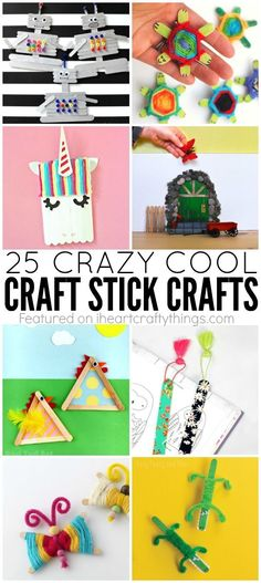 25 Crazy cool craft stick crafts for kids that they will love. Popsicle stick crafts, mini craft stick crafts, jumbo craft stick crafts and fun kids crafts.  {pacifickid.net}