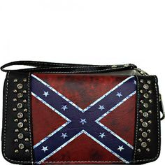 Studded Vintage Rebel Flag Wristlet Wallet – All Things Country