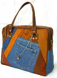 Jeans and Leather Hand Bag
