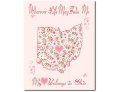 Art Print Hearts and Flowers Ohio My Heart by PatriotIslandDesigns, $14.00