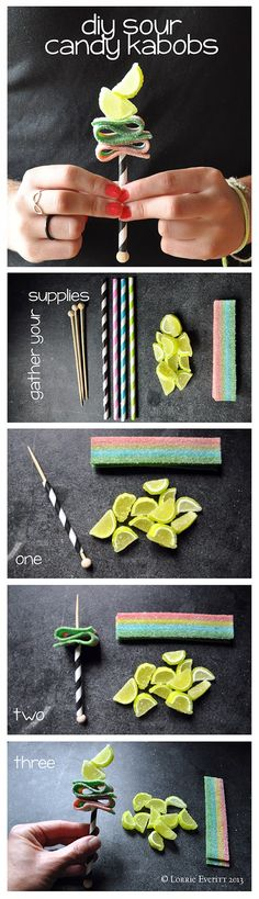 tutorial: create easy candy kabobs to use for party favors Kid Party Favors, Party Treats, Wedding Party Favors, Candy Party, Kids Candy Bars, Candy Kabobs, Bar A Bonbon, Kebab, Sour Candy