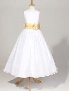 Sleeveless Organza And Satin Wedding/Party Flower Girl Dress – USD $ 59.99