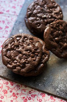 "Anything called ""flourless chocolate"" always hooks me from the get go. I love a rich and dense flourless chocolate cake, or tart or cupcakes and these cookies are no exception. They seem too good t..."