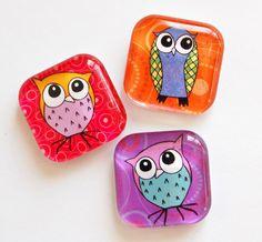 Owl Magnets Fridge Magnets Owls Glass Magnets by KellysMagnets, $6.50